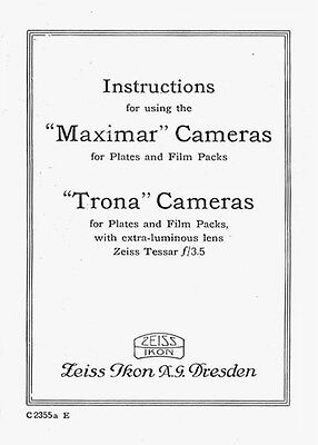 Zeiss Maximar & Trona Cameras Instruction Manual, 1935