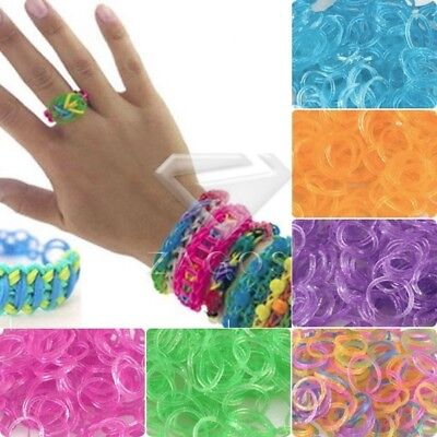 Mix Colour Glitter Jelly Rubber Bands 15 Clips 1 Hook For Bracelet Loom Refill