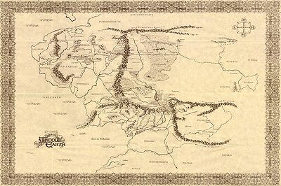 """Vintage Large Map Of Middle Earth The Lord Of The Rings Hobbit Canvas 36""""x24"""""""