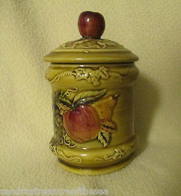 Vintage Copyright Geo Z Lefton Jelly Jam Jar 4127 Apple Peach and Pear Design