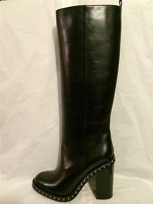 fcb5a59a501 CHANEL 2014 14K Black Leather Tall Knee High Chain Trim Chunky Heel Boots   2075