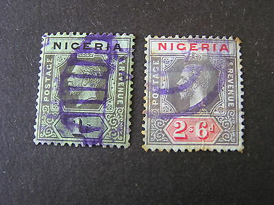NIGERIA, SCOTT # 29/30(2), 1/- + 2sh.6p. VALUES KGV 1921-33 DIE II ISSUE USED