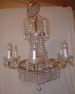 """Large 25"""" Luminaire Crystal/Glass Prism Chandelier 9 Light Ceiling Fixture"""