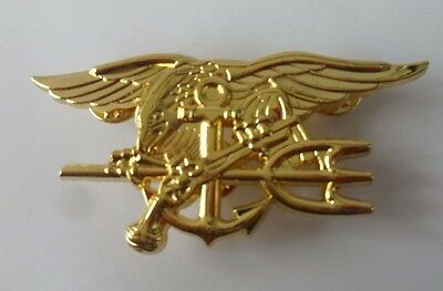 Military Us Navy Seal Eagle Anchor Trident Metal Insignia Badge Pin Golden Sq+ 1