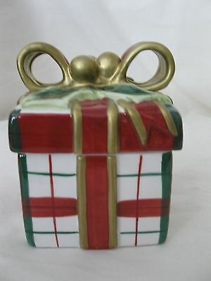 Fitz And Floyd Christmas Present LIdded Box Plaid With Original Box 2063/128