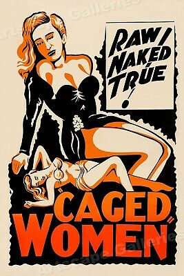 """""""Caged Women"""" Classic 1940s Vintage Style Movie Poster - 16x24"""