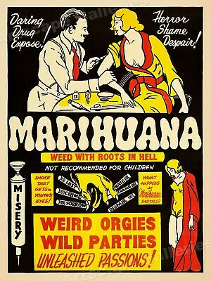 Marijuana 1930s Smoking Reefer Madness Vintage Style Movie Poster - 18x24