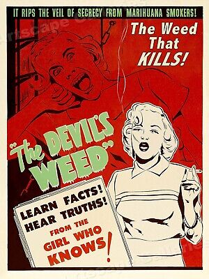 "1950s Marijuana Movie Poster ""The Devil's Weed"" Reefer - 24x32"