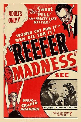 """1950's """"Reefer Madness"""" Vintage Style Classic Marihuana Poster - 16x24"""