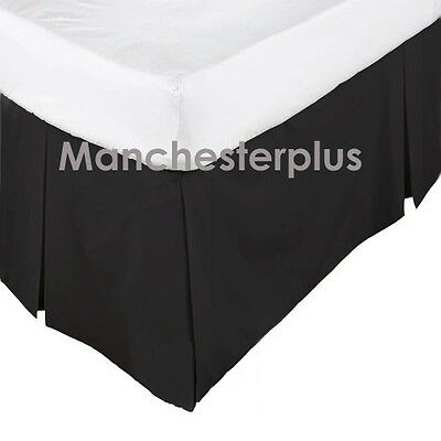 BLACK - 225TC Box Pleated Valance / Bed Skirt - SINGLE DOUBLE QUEEN KING