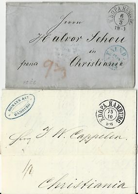 Hamburg 1856/61, 2 KDOPA Brief n. Norwegen. 1mal overland via Schweden. #1300