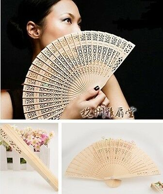 Vintage Folding Bamboo Original Wooden Carved Hand Fan Wedding Bridal Party  HS