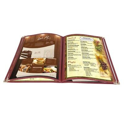 "20pc 8.5x14"" Menu Cover 4 Page 8 View Reinforce Corner Stitch Restaurant Cafe"