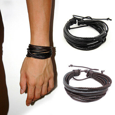 Mens Multi Layer Wrap Leather Braided Bracelet Wristband Ladies Brown Black Boy