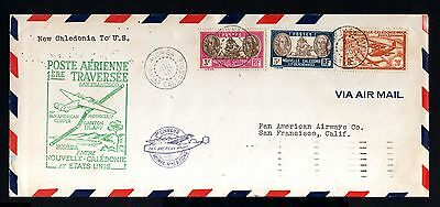 8458-NEW CALEDONIA-airmail COVER NOUMEA to CALIFORNIA (usa)1940.1º FLIGHT.french