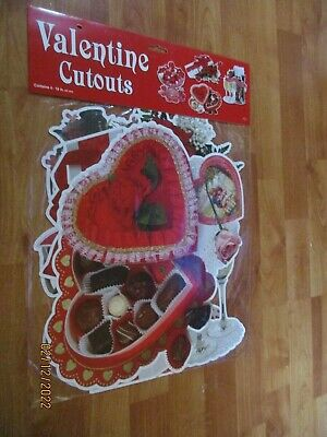 "1990 Beistle Four Pack of 16"" Valentines Heart Diecut Cutouts Decoration  NOS"
