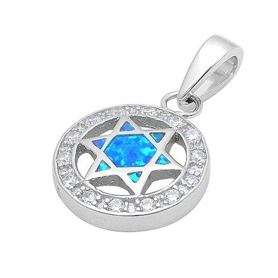 Blue Opal & Cubic Zirconia Star of David .925 Sterling Silver Pendant