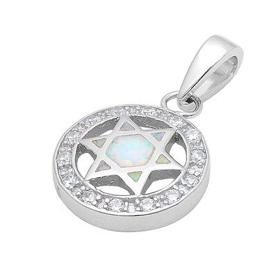 White Opal & Cubic Zirconia Star of David .925 Sterling Silver Pendant