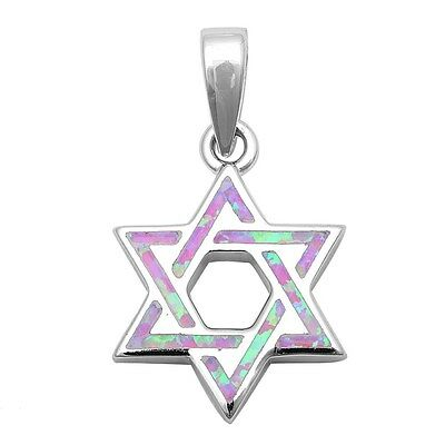 Pink Opal Star of David .925 Sterling Silver Pendant