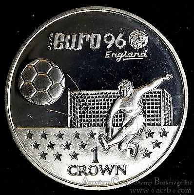 Gibraltar 1 Crown 1996 Gem BU+ PL 1C UK Britain Elizabeth II Euro Soccer.