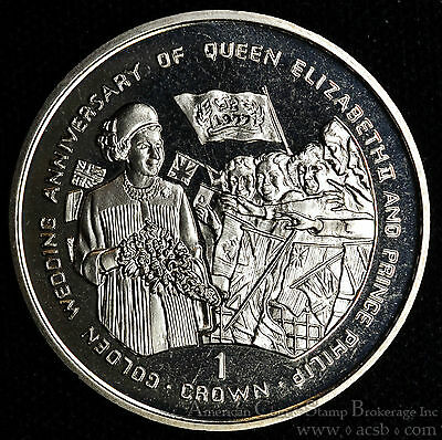 Gibraltar 1 Crown 1997 Gem BU PL Golden Wedding Anniversary Elizabeth Philip.