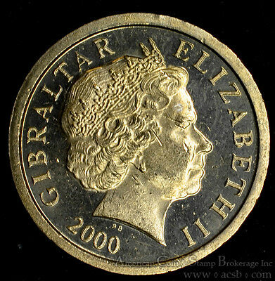 Gibraltar 1 Pound 2000 PMMAA CH BU PL UK Britain Queen Elizabeth II Castle Key.