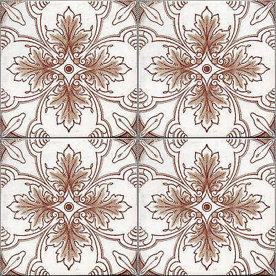 Art Nouveau ceramic 30 majolica tile from Germany sepia on white lined leaves