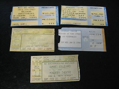 4 Diff Broadway Theater Ticket Stubs Les Miserables Spider Woman Sunset Blood