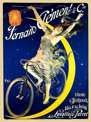 "1890s ""Fernand Clement"" Moon Vintage Style Bicycle Cycle Poster - 20x28"