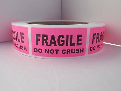 FRAGILE DO NOT CRUSH 1x2 pink fluorescent  Stickers Labels 500/rl