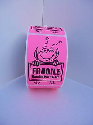 FRAGILE HANDLE WITH CARE Cute Pink Alien Holding Sign 2x3 Sticker Label 250/rl