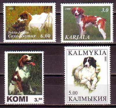 Brittany English Spaniel Dogs 4 different MNH stamps BREN01