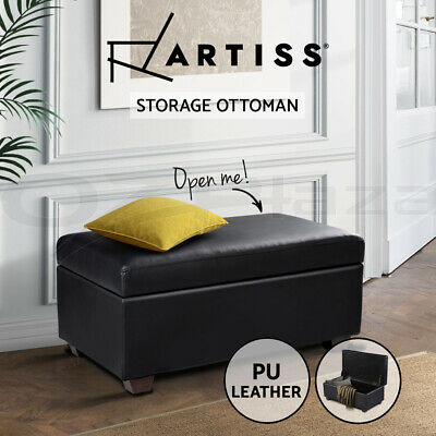 Blanket Box Storage Ottoman Seat Faux PU Leather Toy Large Footrest Foot Black