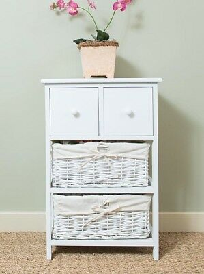 New Shabby Chic 2 Drawer Tall Bedside Unit with Wicker Storage Console Table
