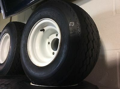 "18x8.50-8 Golf Cart Tire on 8"" 4 Lug White Steel Wheel FITS club car E-Z-GO"