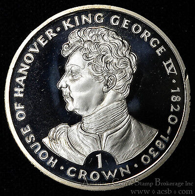Gibraltar 1 Crown 1993 Gem BU+ PL 1C UK Britain House of Hanover King George IV.
