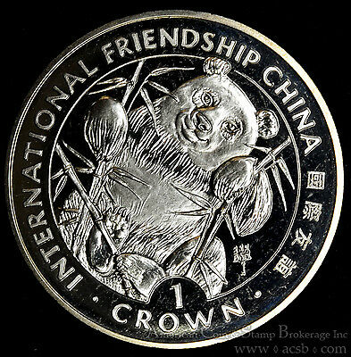 Gibraltar 1 Crown 1993 Gem BU+ PL 1C UK Int'l Friendship China Natural Panda.