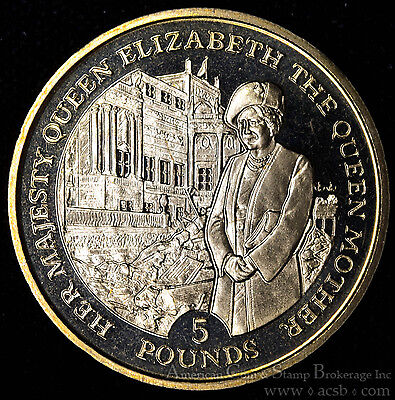 Gibraltar 5 Pounds 1995 Gem BU PL virenium WWII Queen Mother Buckingham Palace.