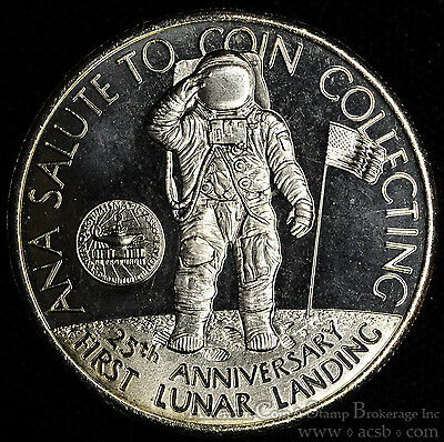 Turks & Caicos Isl. 5 Crowns 1994 Gem BU PL 5C Lunar Landing ANA Coin Collecting