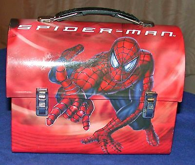 Spider Man Metal Lunch Box with Plastic Handle 2002 Marvel