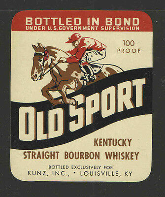 OLD SPORT STRAIGHT BOURBON WHISKEY Small ANTIQUE BOTTLE LABEL - UNUSED