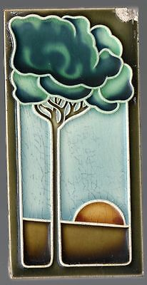 Stunning ca1900 Original Art Nouveau Majolica tile tree & sunrise 5 colors (12)