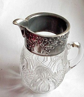 BEAUTIFUL Antique Cut Crystal Glass Pitcher w Silverplate.