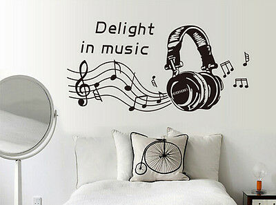 Removable MUSIC NOTES PLAY WRITE Vinyl Wall Stickers Art Mural Home Decor Decal