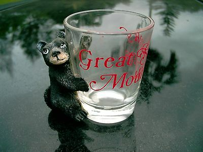 Great Smoky Mountains Black Bear Attached   Clear Shot Glass  Nice Replacement