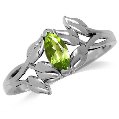 Natural Peridot 925 Sterling Silver Leaf Solitaire Ring