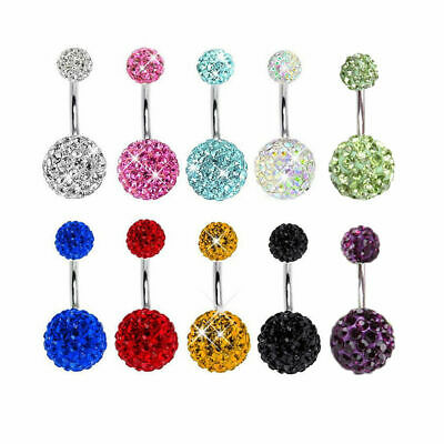 Piercing Nombril Courbe Arcade Cristal Strass Barbell Anneau Boule Belly Ring