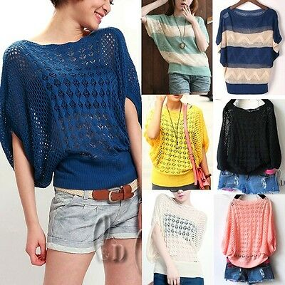 WHOLESALE BULK LOT OF 10 MIXED COLOUR Hollow Knit Top Beach Cover Up Sweate T032