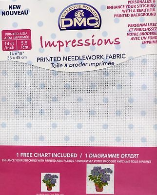 "DMC Impressions 14 count Aida Fabric 14x18"" Blue Dots"