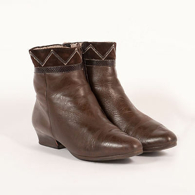 Vtg 80's Chocolate Brown Leather Suede Patterned Lined Ankle Boots Uk 4 Eu 37